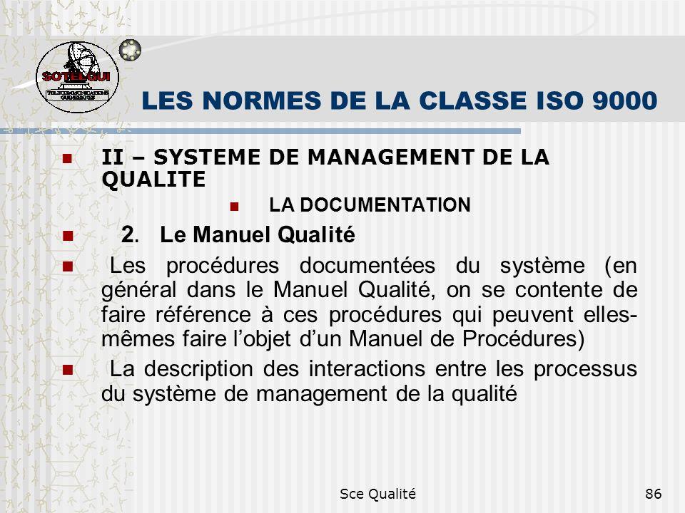 Sce Qualité86 LES NORMES DE LA CLASSE ISO 9000 II – SYSTEME DE MANAGEMENT DE LA QUALITE LA DOCUMENTATION 2. Le Manuel Qualité Les procédures documenté