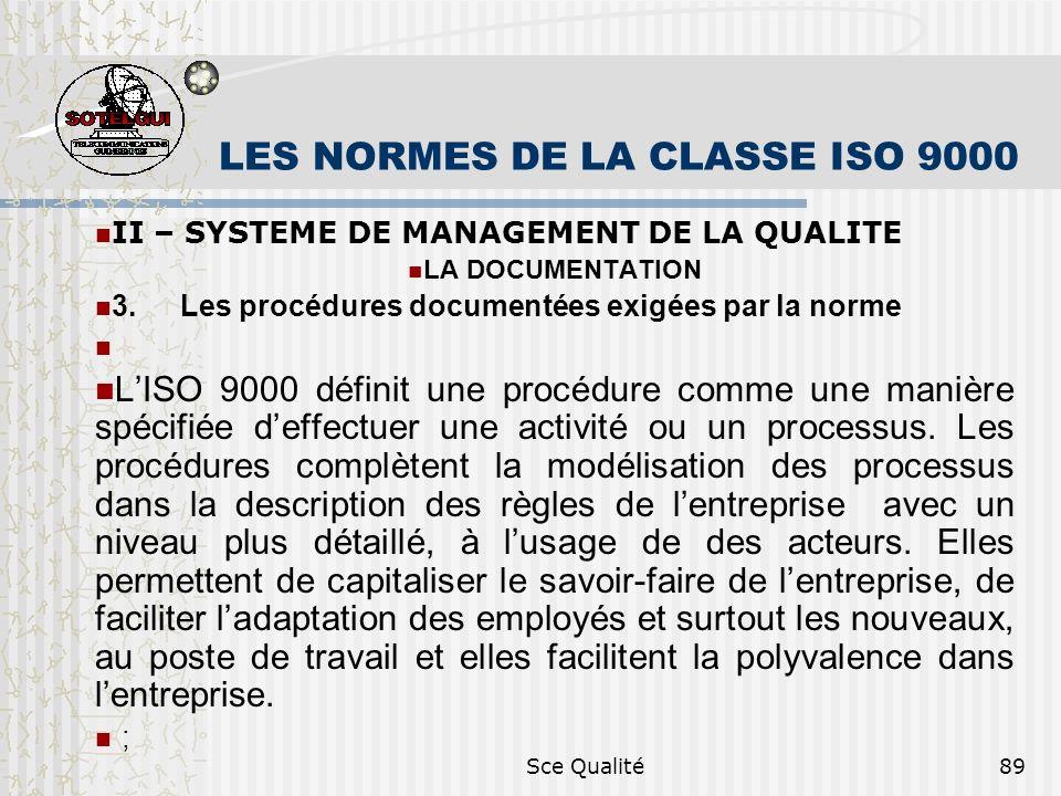 Sce Qualité89 LES NORMES DE LA CLASSE ISO 9000 II – SYSTEME DE MANAGEMENT DE LA QUALITE LA DOCUMENTATION 3. Les procédures documentées exigées par la