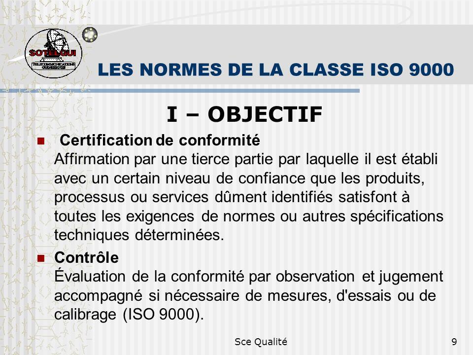 Sce Qualité9 LES NORMES DE LA CLASSE ISO 9000 I – OBJECTIF Certification de conformité Affirmation par une tierce partie par laquelle il est établi avec un certain niveau de confiance que les produits, processus ou services dûment identifiés satisfont à toutes les exigences de normes ou autres spécifications techniques déterminées.