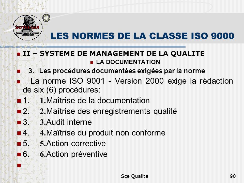 Sce Qualité90 LES NORMES DE LA CLASSE ISO 9000 II – SYSTEME DE MANAGEMENT DE LA QUALITE LA DOCUMENTATION 3. Les procédures documentées exigées par la