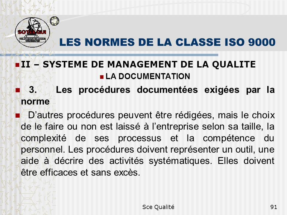Sce Qualité91 LES NORMES DE LA CLASSE ISO 9000 II – SYSTEME DE MANAGEMENT DE LA QUALITE LA DOCUMENTATION 3. Les procédures documentées exigées par la