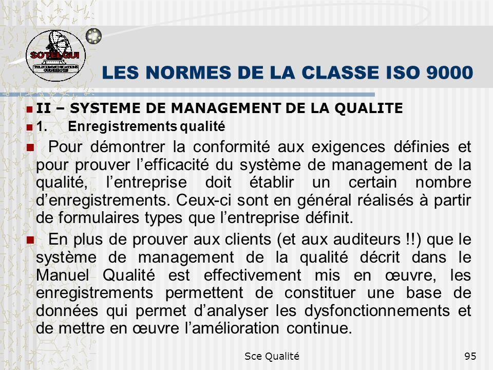 Sce Qualité95 LES NORMES DE LA CLASSE ISO 9000 II – SYSTEME DE MANAGEMENT DE LA QUALITE 1. Enregistrements qualité Pour démontrer la conformité aux ex