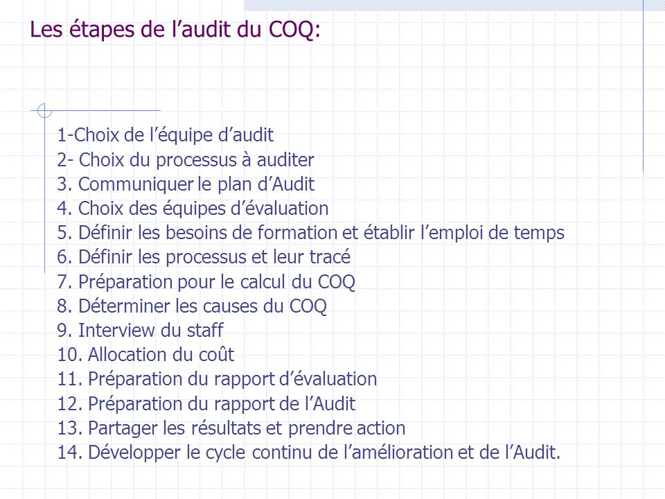 -que Cet Audit admet - les séries dévaluation du COQ sont entreprises pour profiter les processus daffaires plus importants au lieu du cadre de progra