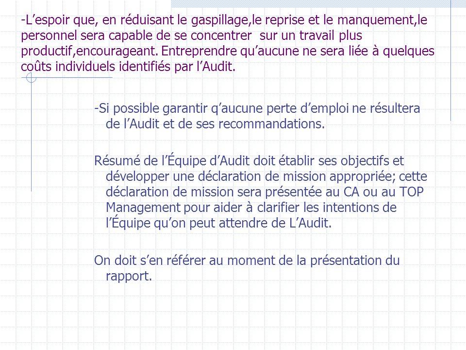 3-Communication du plan dAudit Avant le choix ou briefing des Équipes dévaluation, lÉquipe dAudit doit être claire sur ce quelle veut accomplir (attei