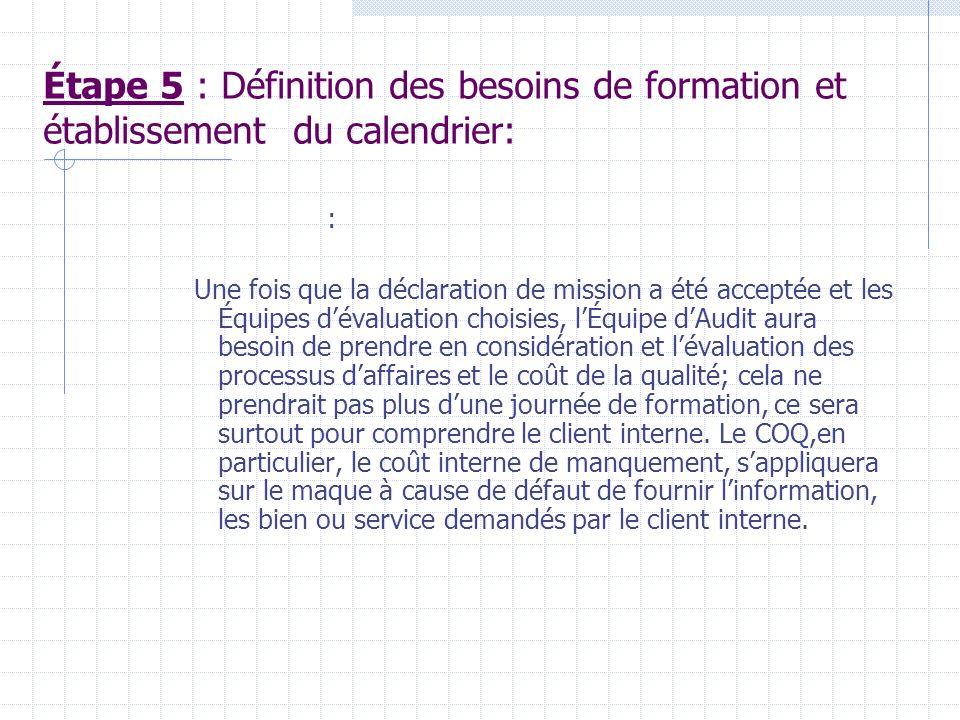 Étape 4 : Pour chaque processus à être évalué une Équipe dévaluation doit être choisie.II Faut normalement 3-5 personnes, cela dépendra des Départemen