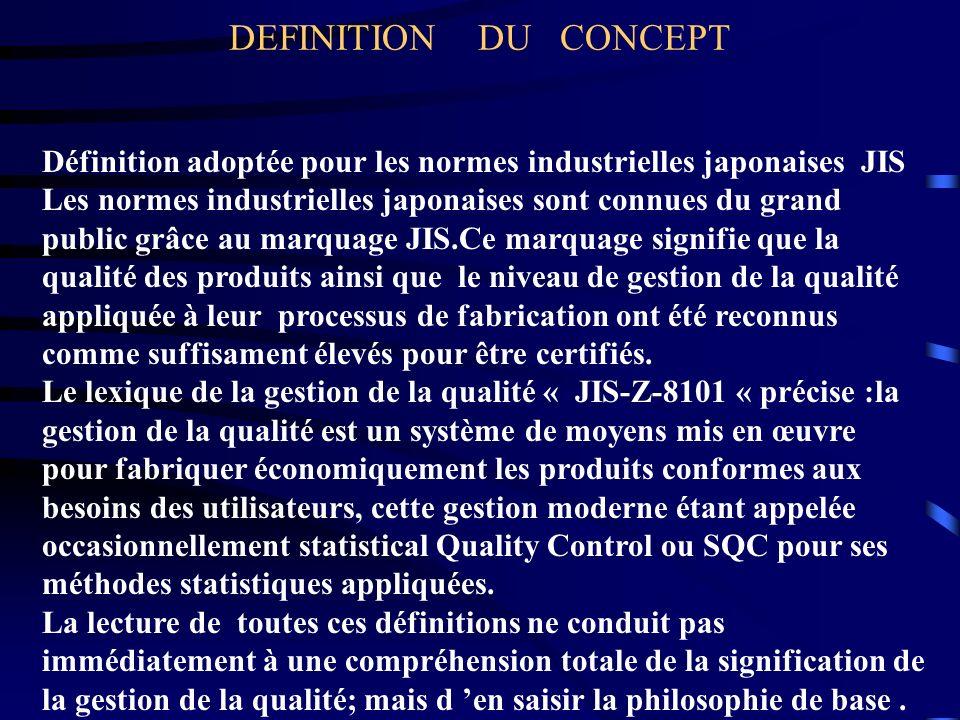 DEFINITION DU CONCEPT Définition adoptée pour les normes industrielles japonaises JIS Les normes industrielles japonaises sont connues du grand public