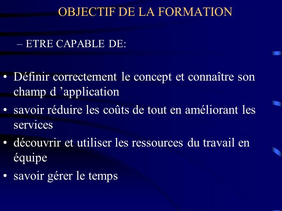 OBJECTIF DE LA FORMATION –ETRE CAPABLE DE: Définir correctement le concept et connaître son champ d application savoir réduire les coûts de tout en am