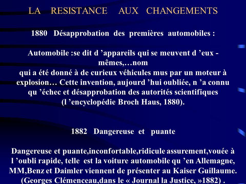 LA RESISTANCE AUX CHANGEMENTS 1880 Désapprobation des premières automobiles : Automobile :se dit d appareils qui se meuvent d eux - mêmes,…nom qui a é