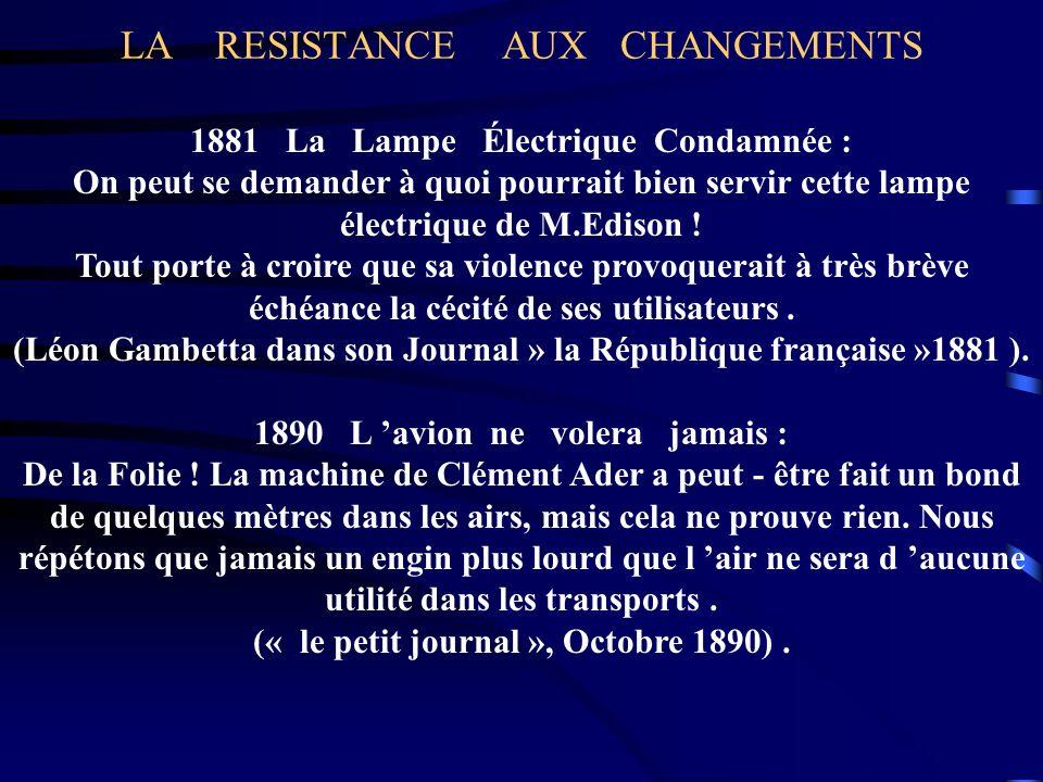 LA RESISTANCE AUX CHANGEMENTS 1881 La Lampe Électrique Condamnée : On peut se demander à quoi pourrait bien servir cette lampe électrique de M.Edison