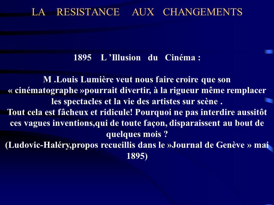LA RESISTANCE AUX CHANGEMENTS 1895 L Illusion du Cinéma : M.Louis Lumière veut nous faire croire que son « cinématographe »pourrait divertir, à la rig