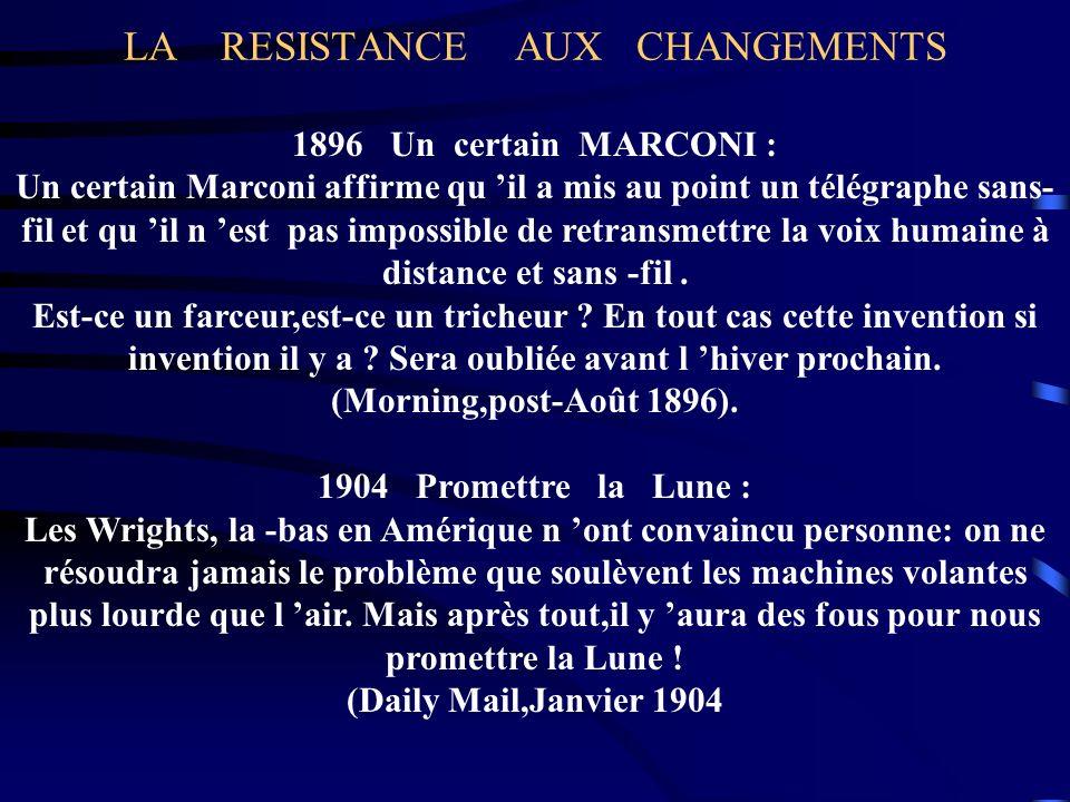LA RESISTANCE AUX CHANGEMENTS 1896 Un certain MARCONI : Un certain Marconi affirme qu il a mis au point un télégraphe sans- fil et qu il n est pas imp