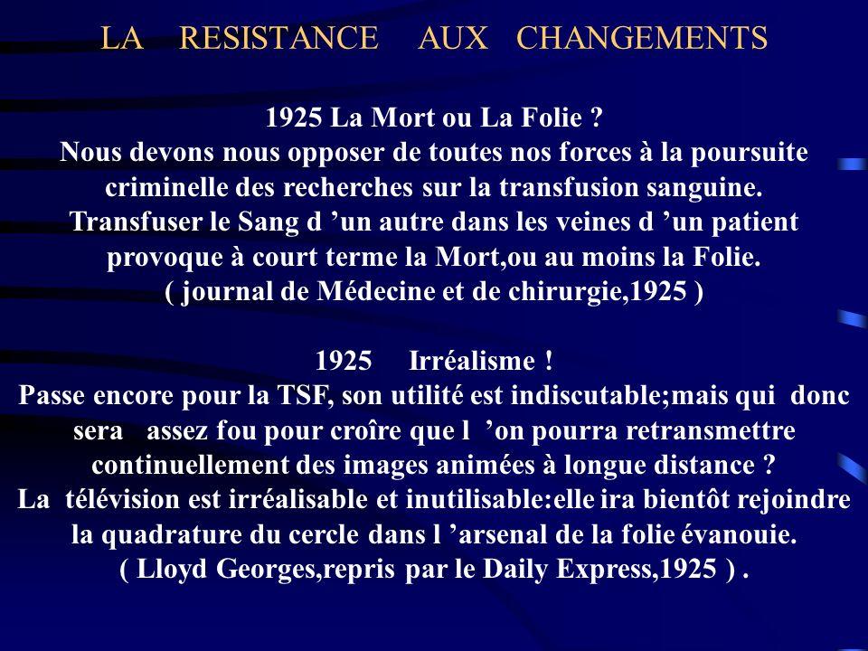 LA RESISTANCE AUX CHANGEMENTS 1925 La Mort ou La Folie ? Nous devons nous opposer de toutes nos forces à la poursuite criminelle des recherches sur la