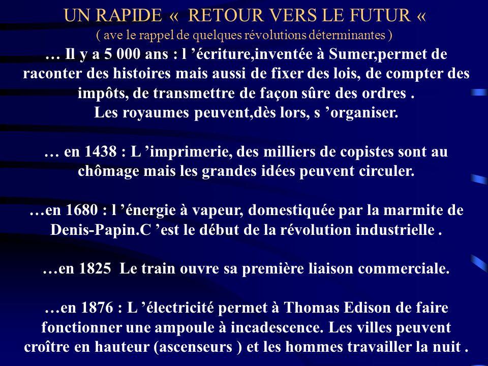 UN RAPIDE « RETOUR VERS LE FUTUR « ( ave le rappel de quelques révolutions déterminantes ) … Il y a 5 000 ans : l écriture,inventée à Sumer,permet de