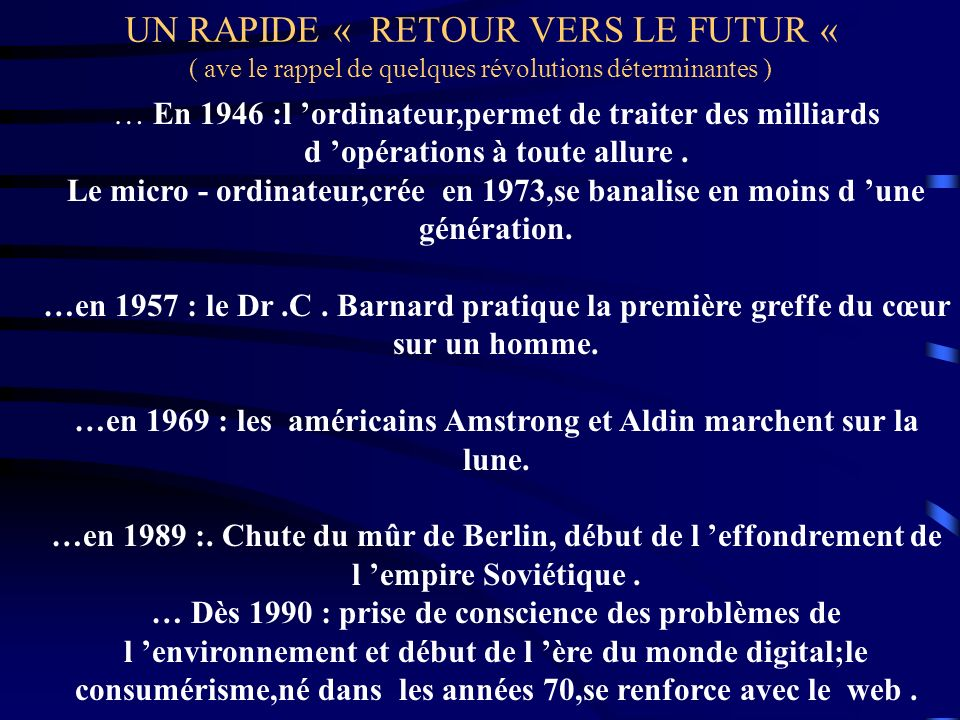 UN RAPIDE « RETOUR VERS LE FUTUR « ( ave le rappel de quelques révolutions déterminantes ) … En 1946 :l ordinateur,permet de traiter des milliards d o