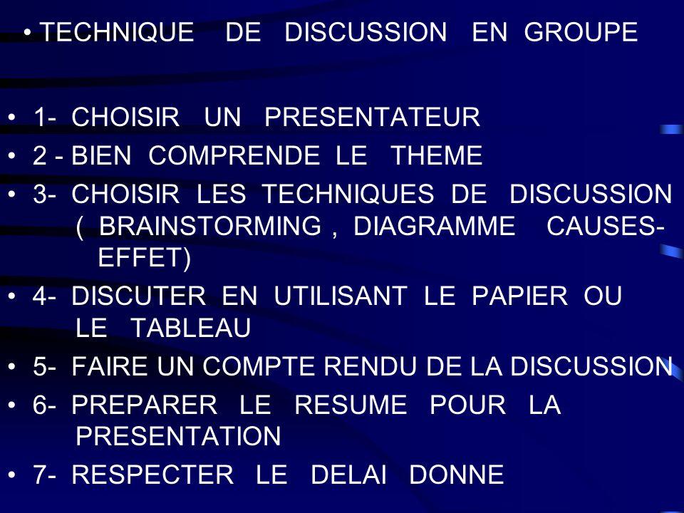TECHNIQUE DE DISCUSSION EN GROUPE 1- CHOISIR UN PRESENTATEUR 2 - BIEN COMPRENDE LE THEME 3- CHOISIR LES TECHNIQUES DE DISCUSSION ( BRAINSTORMING, DIAG