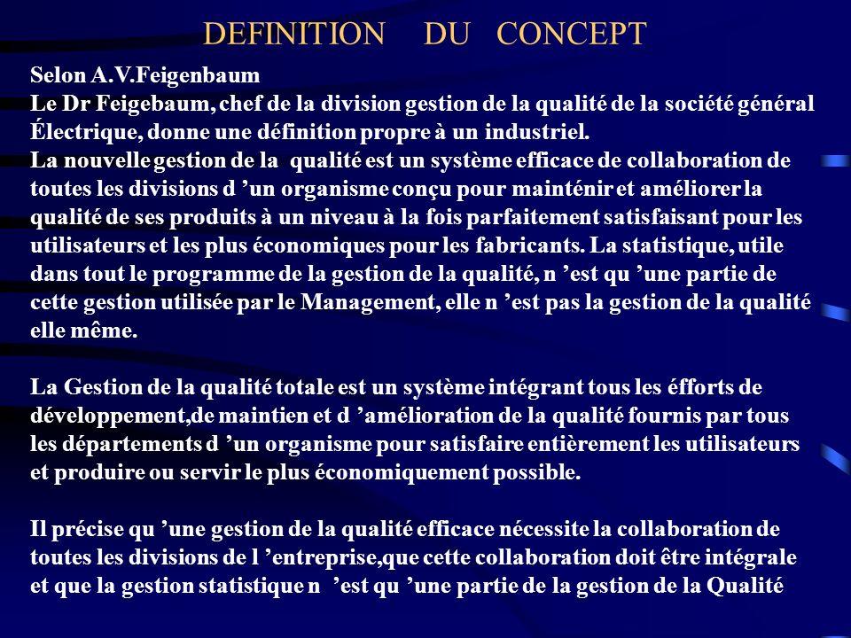 DEFINITION DU CONCEPT Selon A.V.Feigenbaum Le Dr Feigebaum, chef de la division gestion de la qualité de la société général Électrique, donne une défi