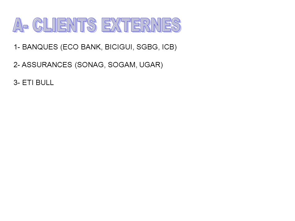 1- BANQUES (ECO BANK, BICIGUI, SGBG, ICB) 2- ASSURANCES (SONAG, SOGAM, UGAR) 3- ETI BULL