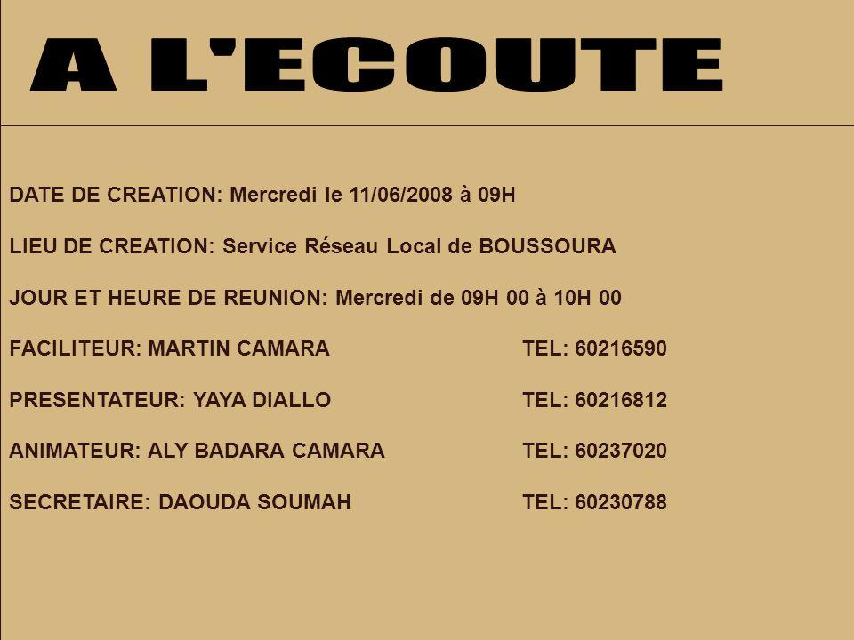DATE DE CREATION: Mercredi le 11/06/2008 à 09H LIEU DE CREATION: Service Réseau Local de BOUSSOURA JOUR ET HEURE DE REUNION: Mercredi de 09H 00 à 10H 00 FACILITEUR: MARTIN CAMARATEL: 60216590 PRESENTATEUR: YAYA DIALLOTEL: 60216812 ANIMATEUR: ALY BADARA CAMARATEL: 60237020 SECRETAIRE: DAOUDA SOUMAHTEL: 60230788