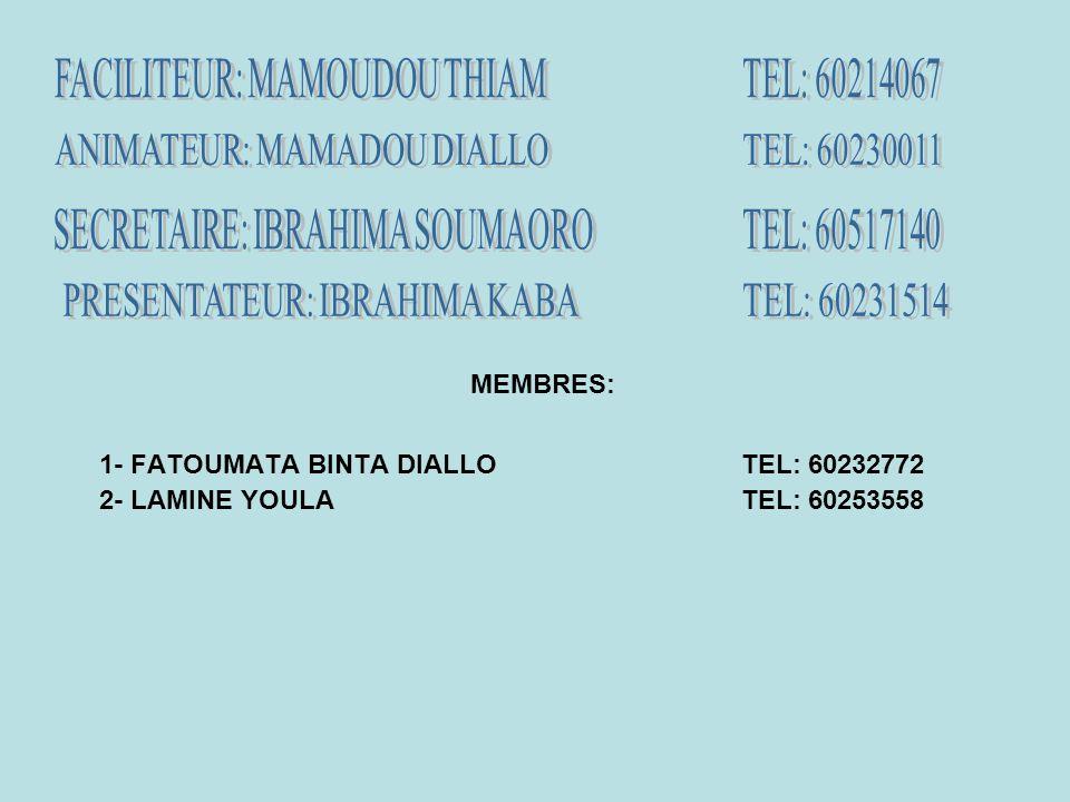 MEMBRES: 1- FATOUMATA BINTA DIALLOTEL: 60232772 2- LAMINE YOULATEL: 60253558