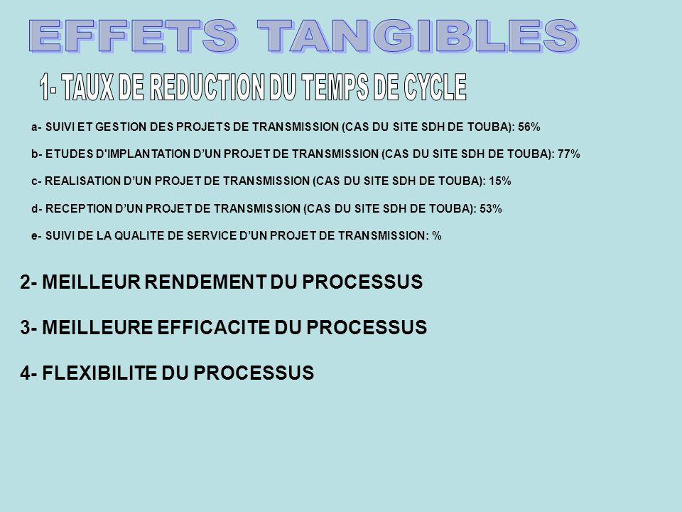 a- SUIVI ET GESTION DES PROJETS DE TRANSMISSION (CAS DU SITE SDH DE TOUBA): 56% b- ETUDES D IMPLANTATION DUN PROJET DE TRANSMISSION (CAS DU SITE SDH DE TOUBA): 77% c- REALISATION DUN PROJET DE TRANSMISSION (CAS DU SITE SDH DE TOUBA): 15% d- RECEPTION DUN PROJET DE TRANSMISSION (CAS DU SITE SDH DE TOUBA): 53% e- SUIVI DE LA QUALITE DE SERVICE DUN PROJET DE TRANSMISSION: % 2- MEILLEUR RENDEMENT DU PROCESSUS 3- MEILLEURE EFFICACITE DU PROCESSUS 4- FLEXIBILITE DU PROCESSUS