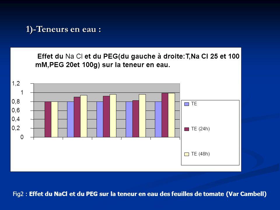 Effet du Na Cl et du PEG(du gauche à droite:T,Na Cl 25 et 100 mM,PEG 20et 100g) sur la teneur en eau. 0 0,2 0,4 0,6 0,8 1 1,2 TE TE (24h) TE (48h) Fig