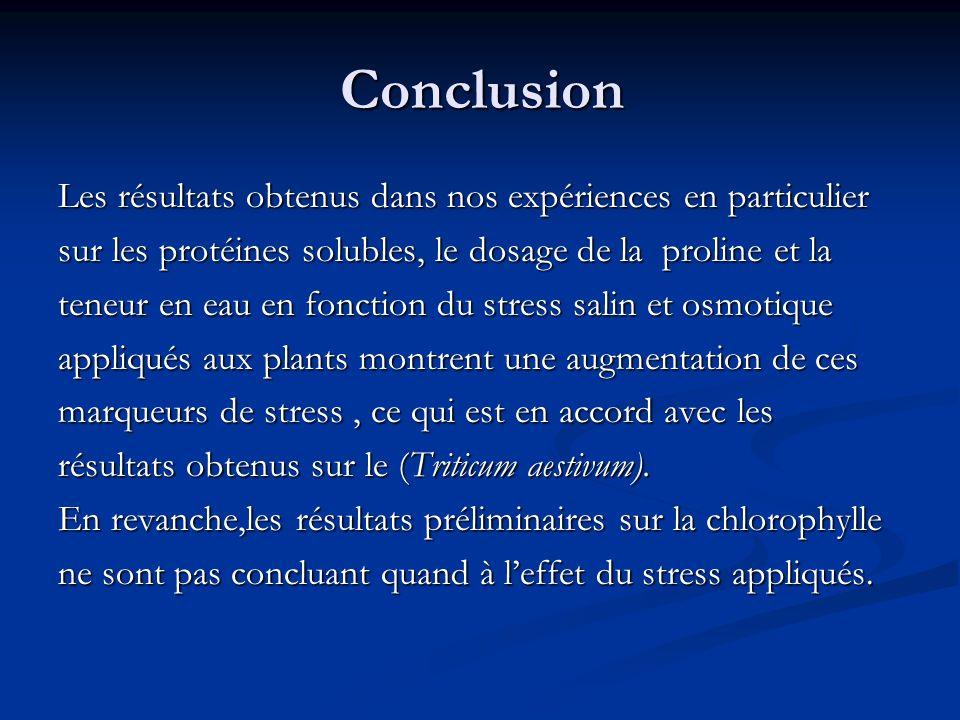 Conclusion Conclusion Les résultats obtenus dans nos expériences en particulier sur les protéines solubles, le dosage de la proline et la teneur en ea