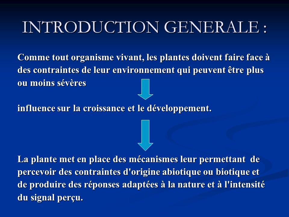 INTRODUCTION GENERALE : Comme tout organisme vivant, les plantes doivent faire face à des contraintes de leur environnement qui peuvent être plus ou m