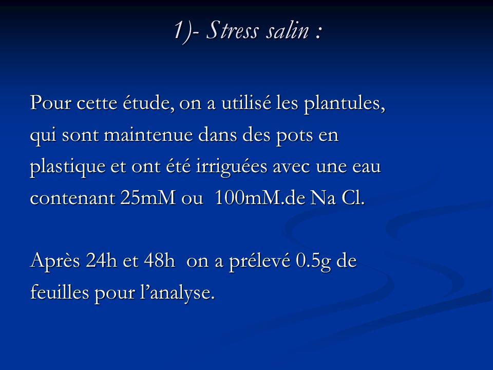 1)- Stress salin : Pour cette étude, on a utilisé les plantules, qui sont maintenue dans des pots en plastique et ont été irriguées avec une eau conte