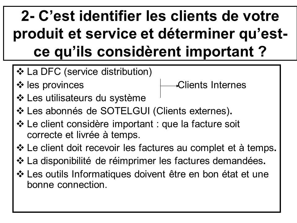 2- Cest identifier les clients de votre produit et service et déterminer quest- ce quils considèrent important ? La DFC (service distribution) les pro