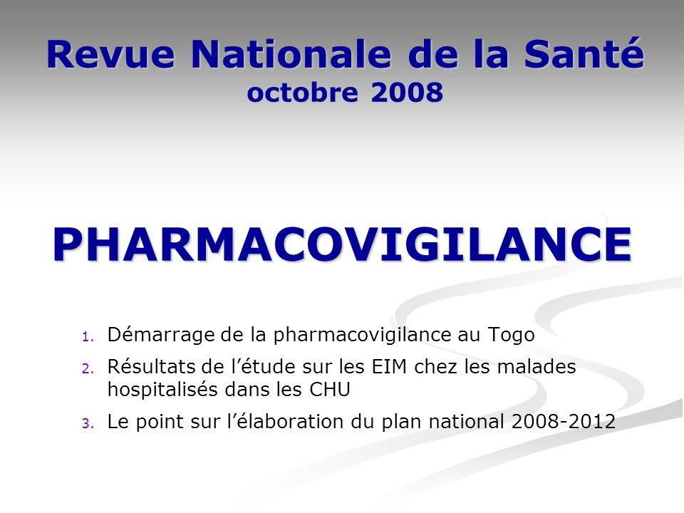 Revue Nationale de la Santé octobre 2008 1. Démarrage de la pharmacovigilance au Togo 2.