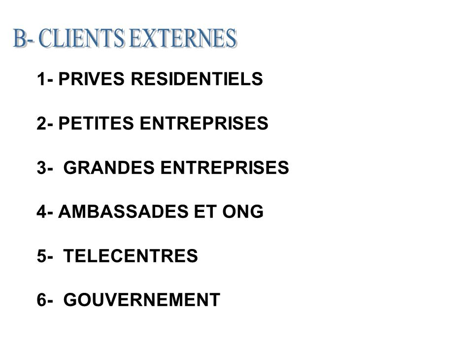 1- PRIVES RESIDENTIELS 2- PETITES ENTREPRISES 3- GRANDES ENTREPRISES 4- AMBASSADES ET ONG 5- TELECENTRES 6- GOUVERNEMENT