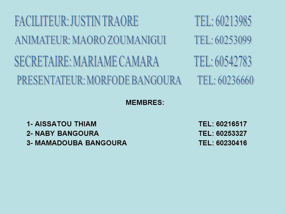 MEMBRES: 1- AISSATOU THIAMTEL: 60216517 2- NABY BANGOURATEL: 60253327 3- MAMADOUBA BANGOURATEL: 60230416