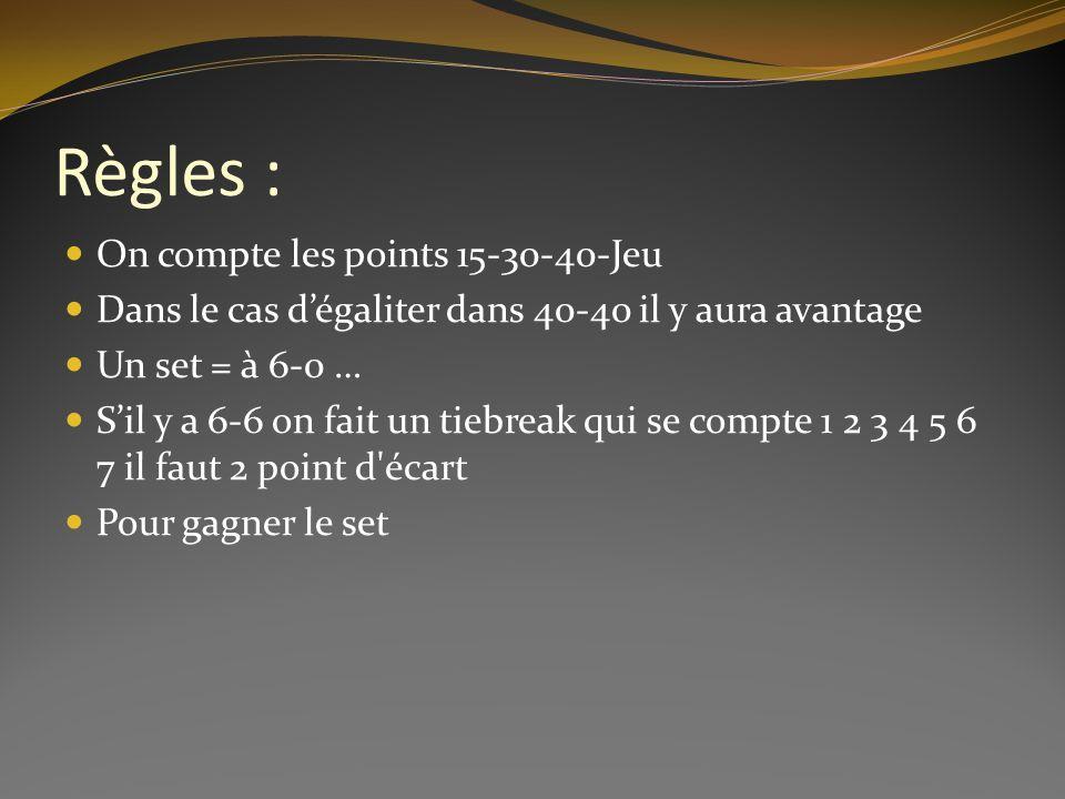 Règles : On compte les points 15-30-40-Jeu Dans le cas dégaliter dans 40-40 il y aura avantage Un set = à 6-0 … Sil y a 6-6 on fait un tiebreak qui se