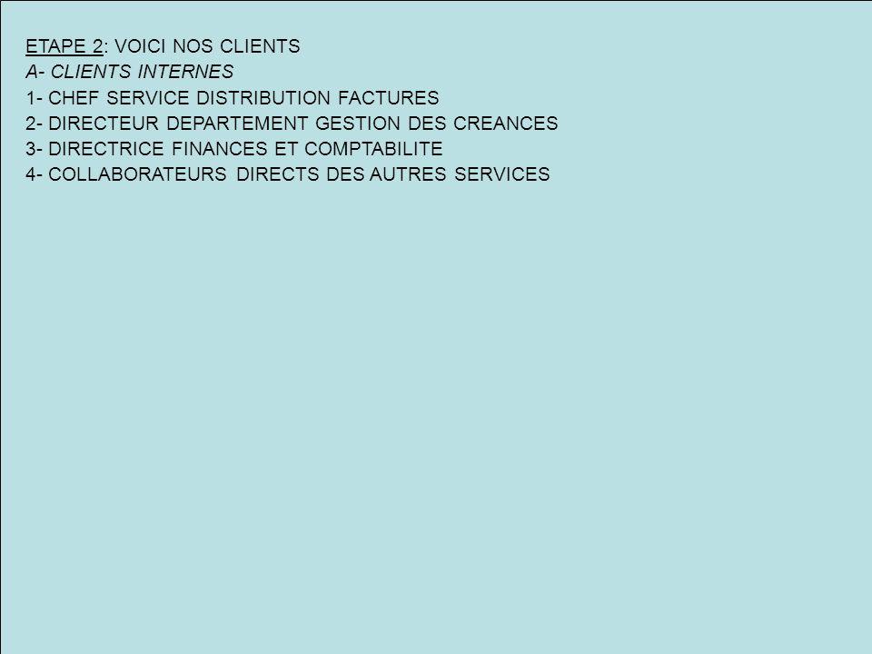 ETAPE 2: VOICI NOS CLIENTS A- CLIENTS INTERNES 1- CHEF SERVICE DISTRIBUTION FACTURES 2- DIRECTEUR DEPARTEMENT GESTION DES CREANCES 3- DIRECTRICE FINANCES ET COMPTABILITE 4- COLLABORATEURS DIRECTS DES AUTRES SERVICES