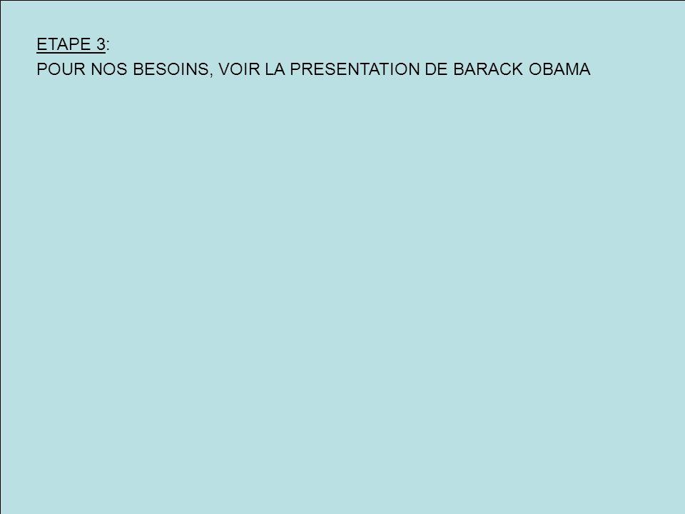 ETAPE 3: POUR NOS BESOINS, VOIR LA PRESENTATION DE BARACK OBAMA