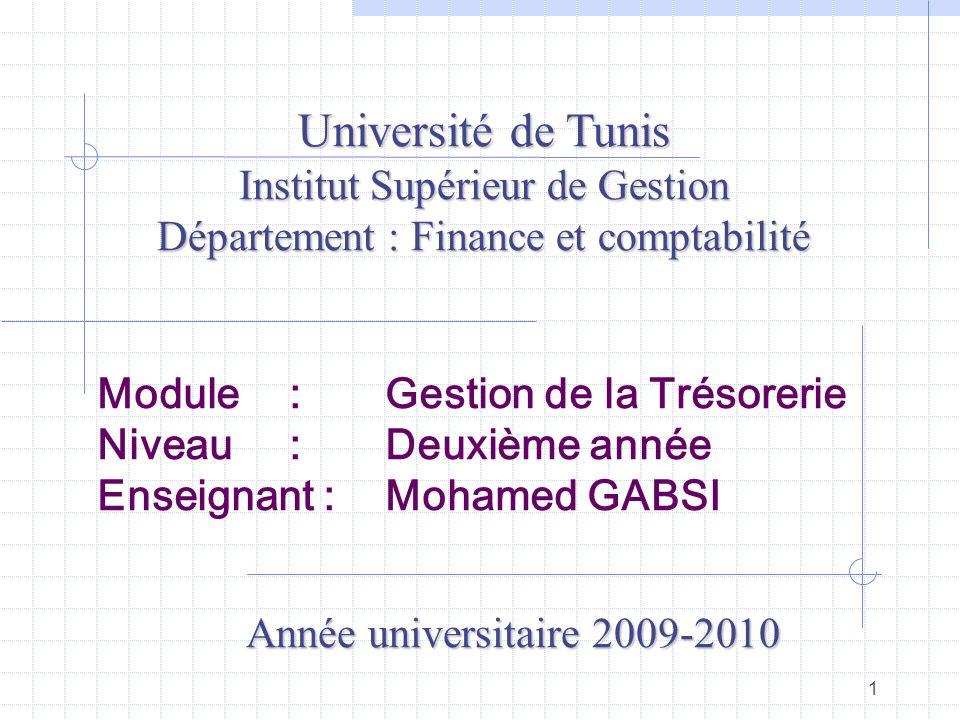 1 Module : Gestion de la Trésorerie Niveau : Deuxième année Enseignant : Mohamed GABSI Université de Tunis Institut Supérieur de Gestion Département :