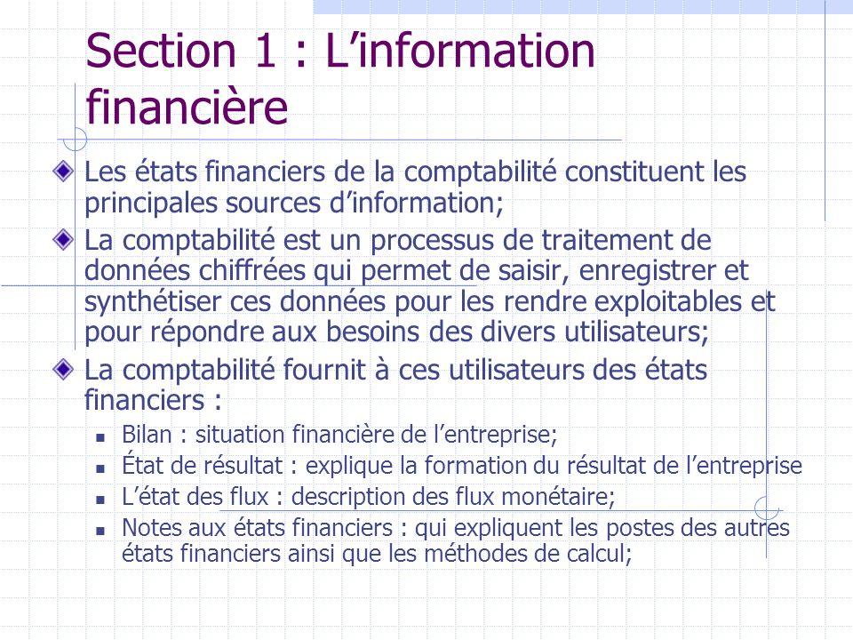 Section 1 : Linformation financière Les états financiers de la comptabilité constituent les principales sources dinformation; La comptabilité est un p
