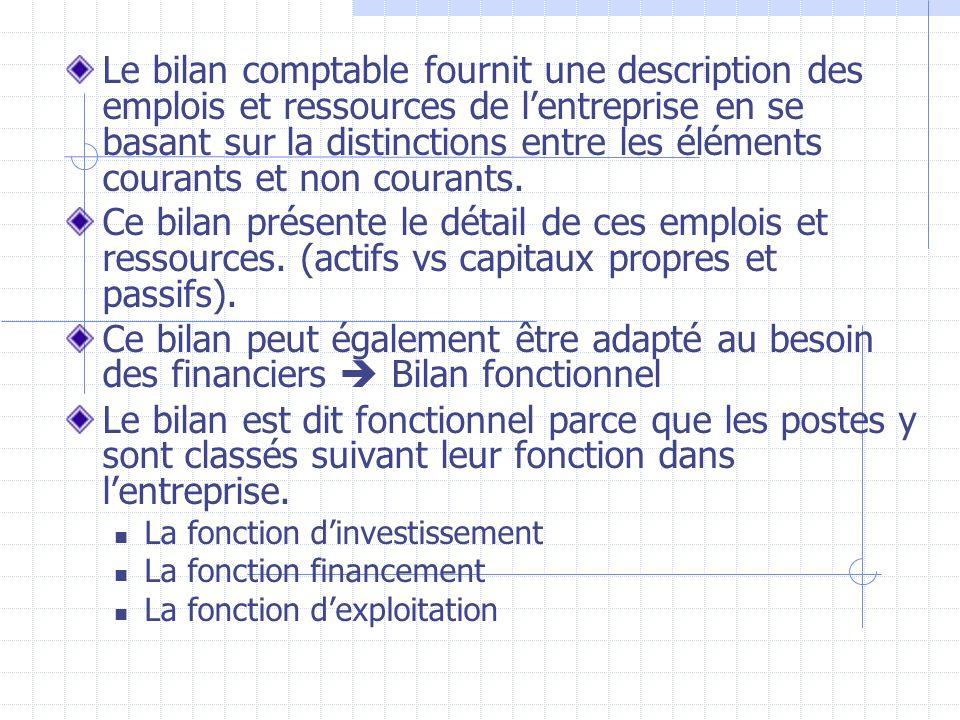 Le bilan comptable fournit une description des emplois et ressources de lentreprise en se basant sur la distinctions entre les éléments courants et no
