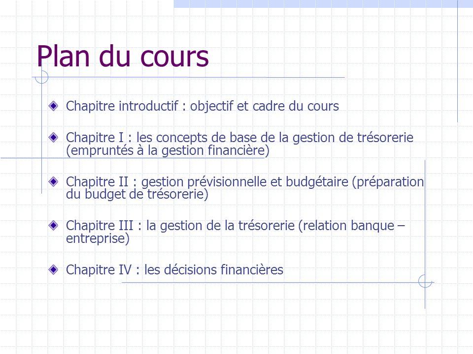Plan du cours Chapitre introductif : objectif et cadre du cours Chapitre I : les concepts de base de la gestion de trésorerie (empruntés à la gestion