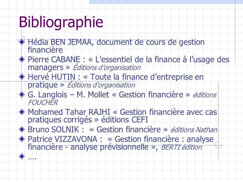 Bibliographie Hédia BEN JEMAA, document de cours de gestion financière Pierre CABANE : « Lessentiel de la finance à lusage des managers » Éditions dor