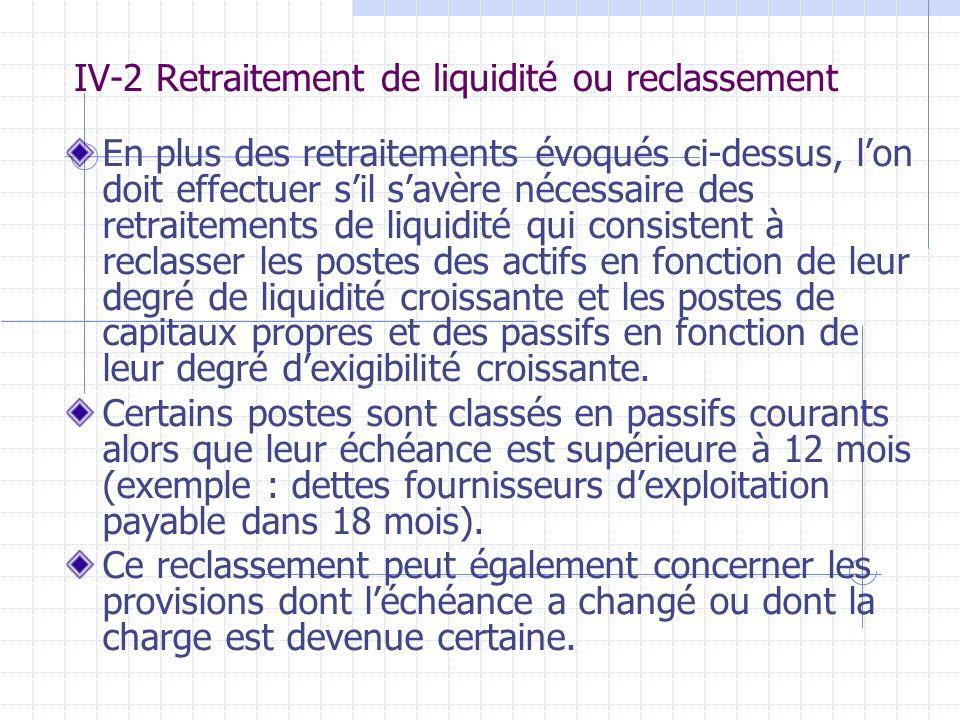 IV-2 Retraitement de liquidité ou reclassement En plus des retraitements évoqués ci-dessus, lon doit effectuer sil savère nécessaire des retraitements