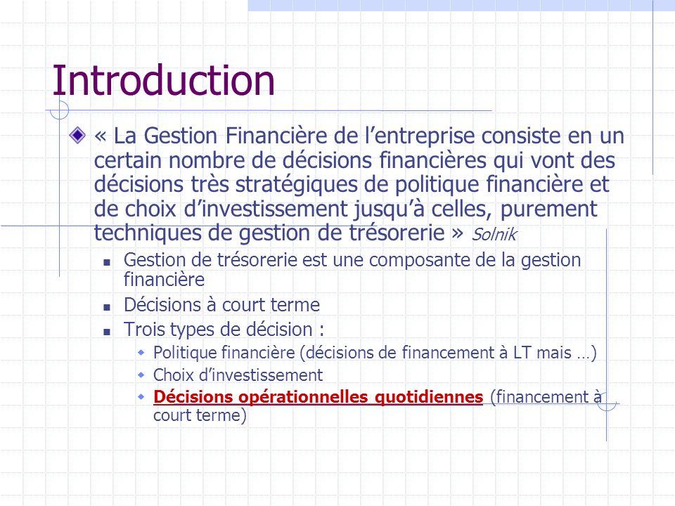 Introduction « La Gestion Financière de lentreprise consiste en un certain nombre de décisions financières qui vont des décisions très stratégiques de