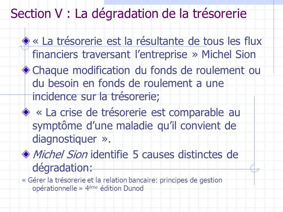 Section V : La dégradation de la trésorerie « La trésorerie est la résultante de tous les flux financiers traversant lentreprise » Michel Sion Chaque