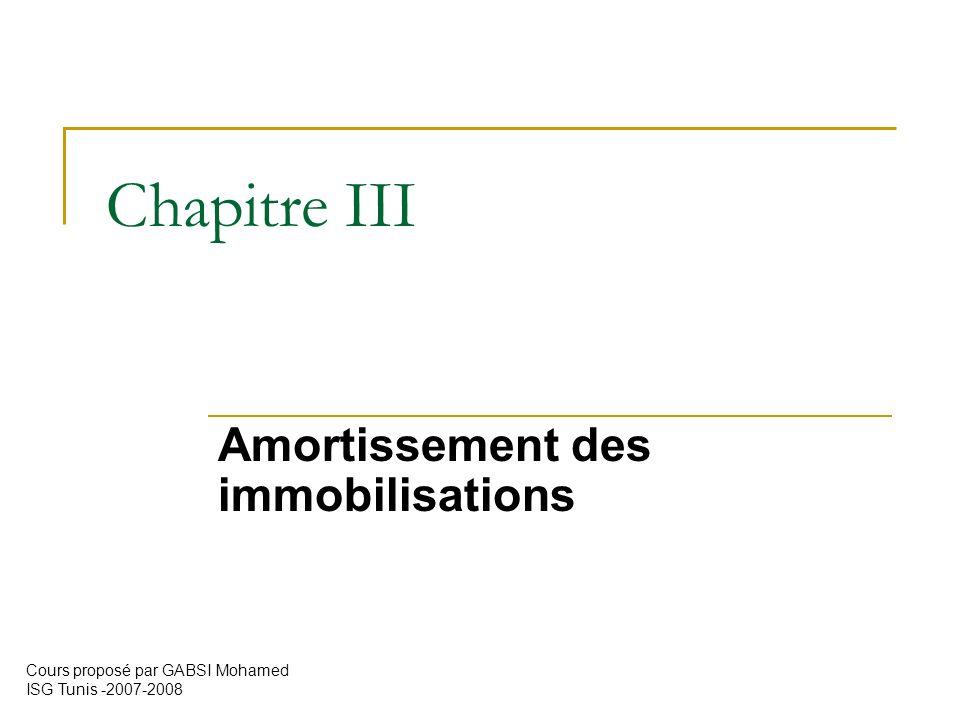 Chapitre III Amortissement des immobilisations Cours proposé par GABSI Mohamed ISG Tunis -2007-2008