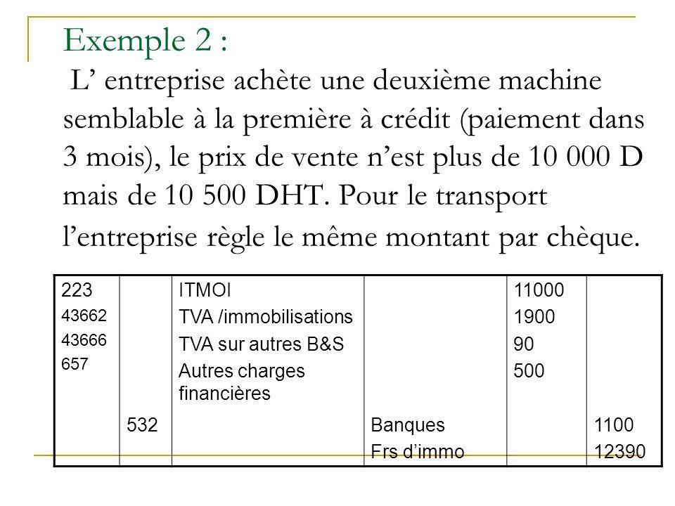 Exemple 2 : L entreprise achète une deuxième machine semblable à la première à crédit (paiement dans 3 mois), le prix de vente nest plus de 10 000 D m