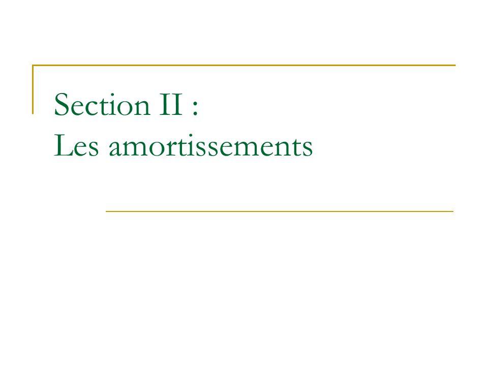Section II : Les amortissements