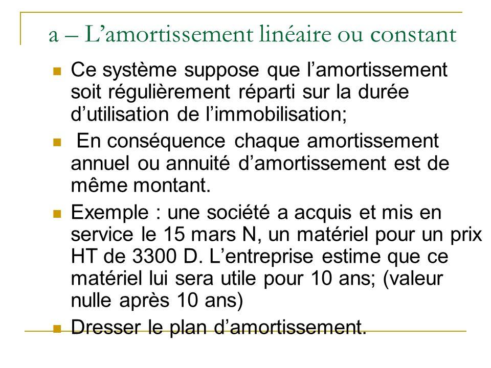 a – Lamortissement linéaire ou constant Ce système suppose que lamortissement soit régulièrement réparti sur la durée dutilisation de limmobilisation;