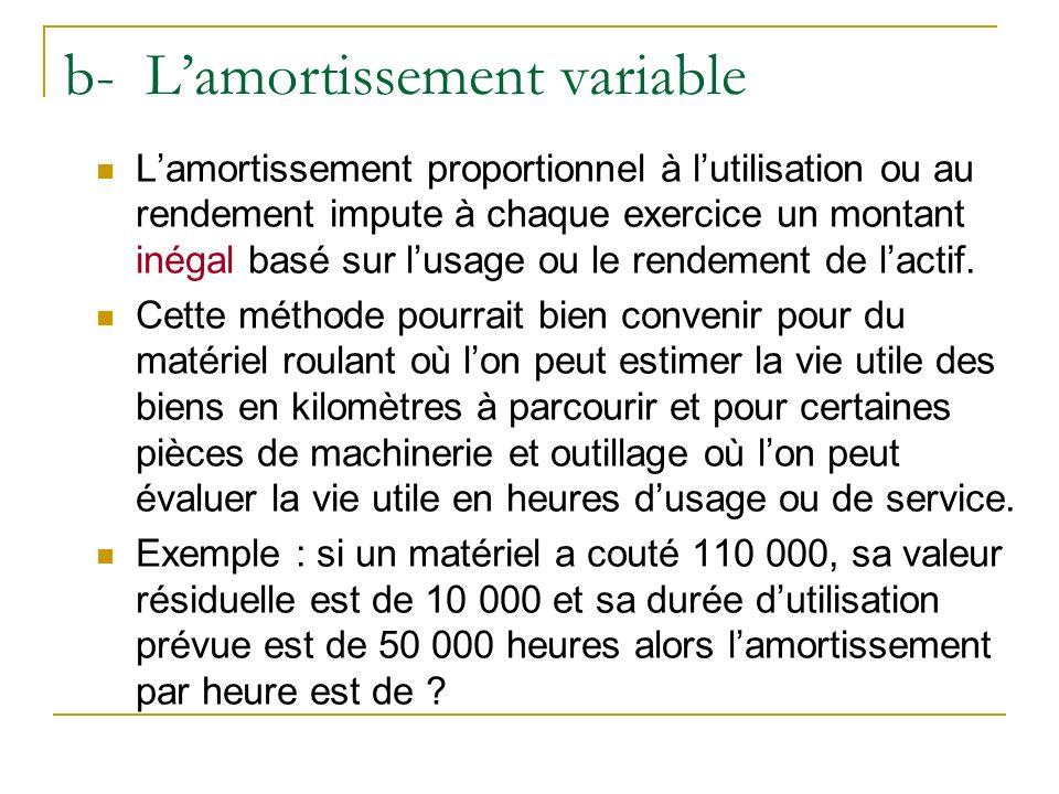 b- Lamortissement variable Lamortissement proportionnel à lutilisation ou au rendement impute à chaque exercice un montant inégal basé sur lusage ou l