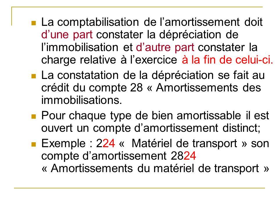 La comptabilisation de lamortissement doit dune part constater la dépréciation de limmobilisation et dautre part constater la charge relative à lexerc
