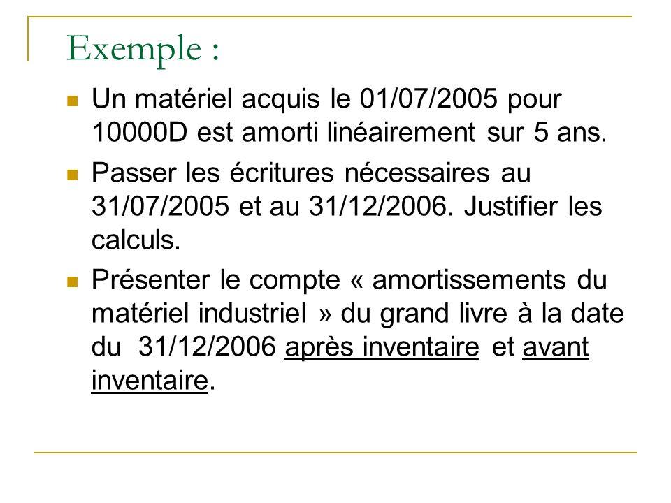 Exemple : Un matériel acquis le 01/07/2005 pour 10000D est amorti linéairement sur 5 ans. Passer les écritures nécessaires au 31/07/2005 et au 31/12/2